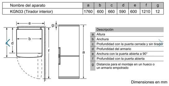 Dimensiones y tamaño Frigorifico Balay 3KF6510WI